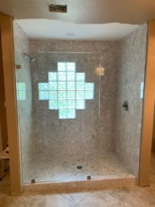 Cultured Marble Shower and Glass Enclosure