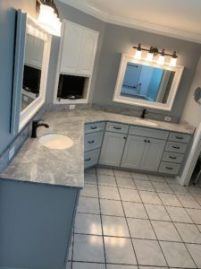 Cultured Marble Vanity Top with 2 Integral Sinks