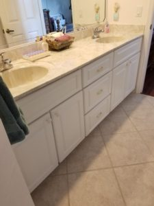 Cultured Marble Double Bowl Vanity Top and Cabinets